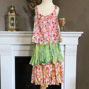 Little Mass Floral Mesh Tie Dye Tiered Dress